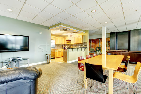 Apartment building modern living room with kitchen general area. Stock photo © iriana88w
