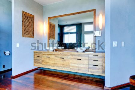 Bathroom with shower, dark wood cabinet, square tiles. Stock photo © iriana88w