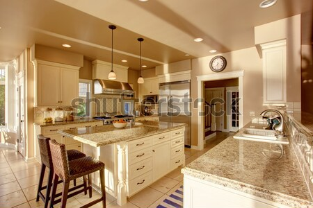 White luxury kitchen with stone, tiles large stove. Stock photo © iriana88w