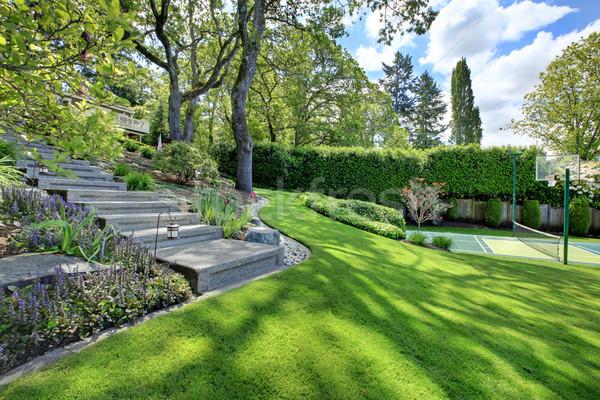 Quadra de tênis casa paisagem brilhante grama verde colina Foto stock © iriana88w