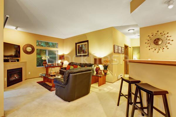 Cozy meduim sized living room with carpet. Stock photo © iriana88w