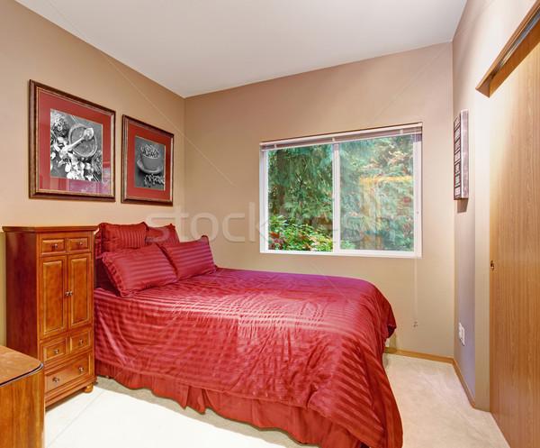 Stylish bedroom with carpet, and one window. Stock photo © iriana88w