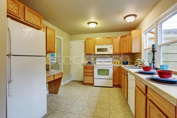 Authentiek keuken tegel vloer Windows houten Stockfoto © iriana88w