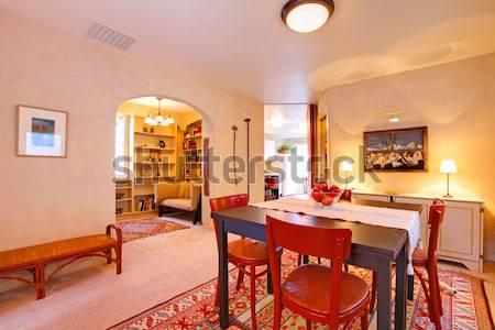 Luxury elegant green dining room with cherry floor. Stock photo © iriana88w