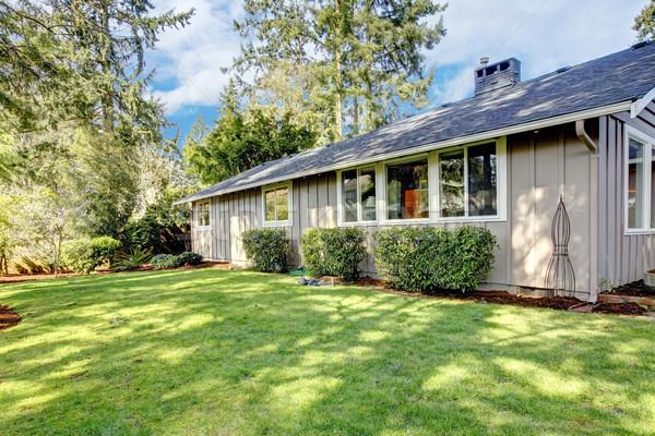 Brown grey house exterior with spring backyard. Stock photo © iriana88w