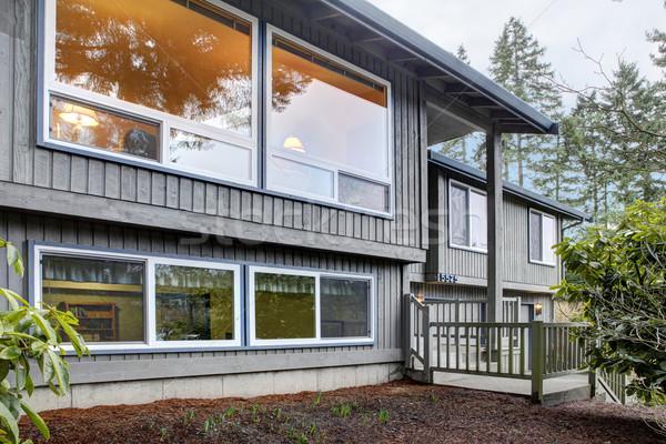 Split level brown grey house front exterior. Stock photo © iriana88w