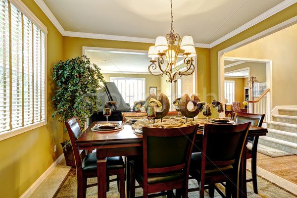 Luxus házbelső felszolgált étkezőasztal fényes szoba Stock fotó © iriana88w