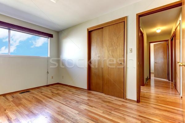 Empty bedroom with shiny hardwood floor. Stock photo © iriana88w
