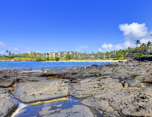 Eiland lava strand resort gebouwen Maakt een reservekopie Stockfoto © iriana88w