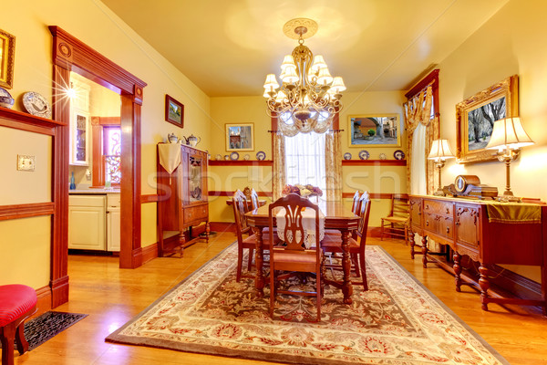 Historyczny amerykański stary dom jadalnia drewna żółty Zdjęcia stock © iriana88w