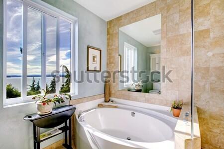 Nice bagno grande specchio finestra legno Foto d'archivio © iriana88w