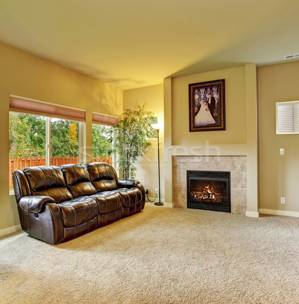 Cozy living room with carpet, and fireplace. Stock photo © iriana88w