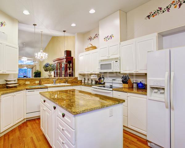 Belo novo madeira de lei pisos cozinha mármore Foto stock © iriana88w