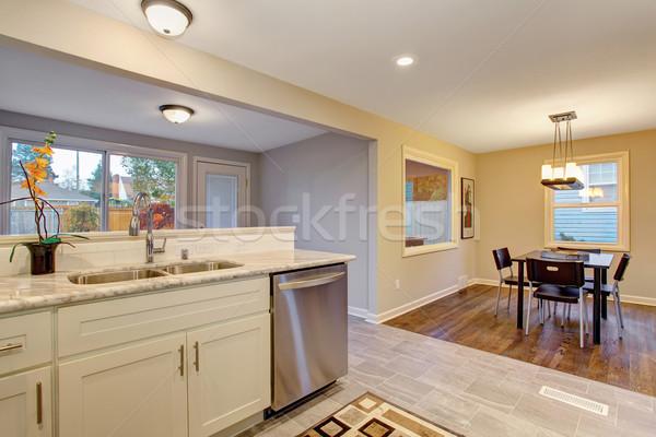 Heldere keuken marmer tegel vloer huis Stockfoto © iriana88w