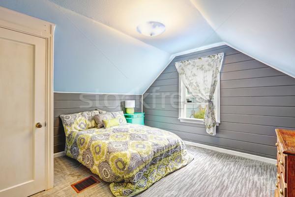 Slaapkamer plafond plank muren licht grijs Stockfoto © iriana88w