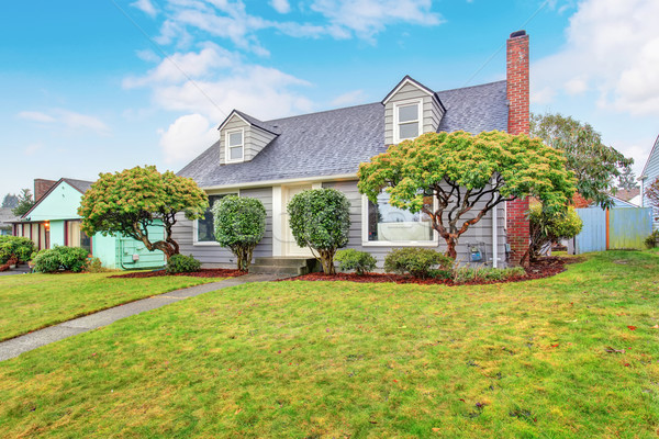 Authentic gray house with yard. Stock photo © iriana88w