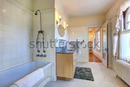 Azzurro bagno piastrelle vanità specchio Foto d'archivio © iriana88w