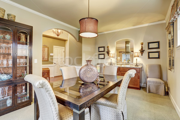 elegant dinning room with carpet and table. Stock photo © iriana88w
