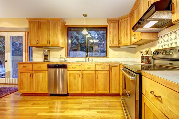 Dourado madeira cozinha piso de madeira laranja projeto Foto stock © iriana88w