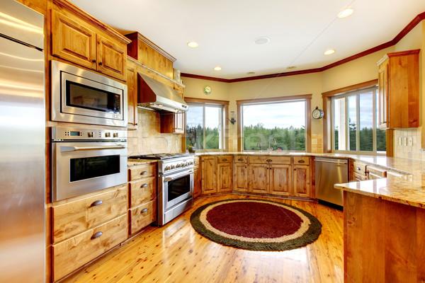 Hout luxe home keuken interieur nieuwe boerderij Stockfoto © iriana88w