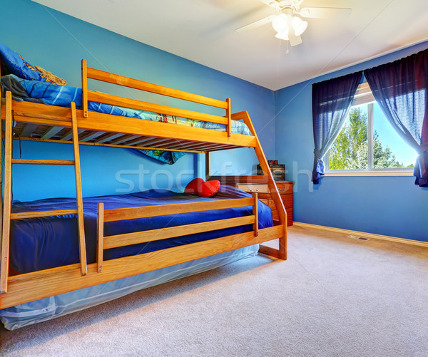 Bright blue bedroom with bulk bed Stock photo © iriana88w