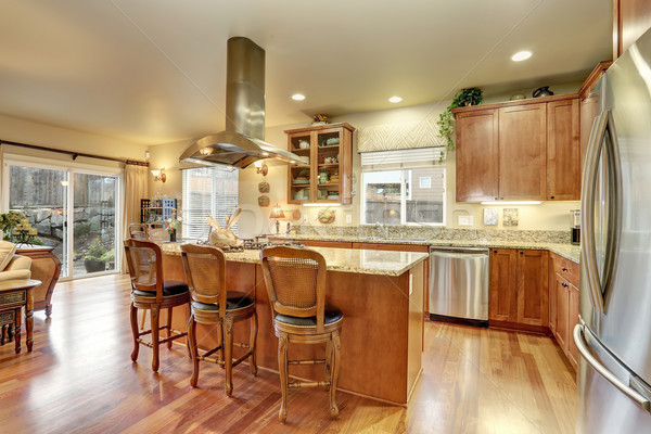 perfect kitchen with hardwood floor and island. Stock photo © iriana88w