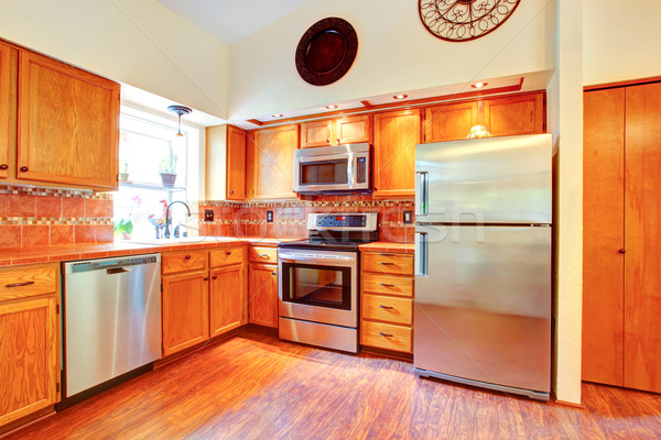 Maple cabinets and steel appliances Stock photo © iriana88w