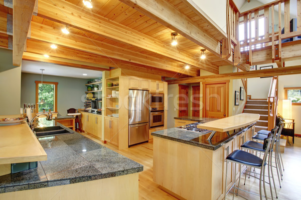 Log cabin style. Kitchen interior Stock photo © iriana88w