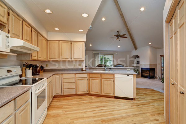 modern kitchen with hardwood floor and lots of space. Stock photo © iriana88w