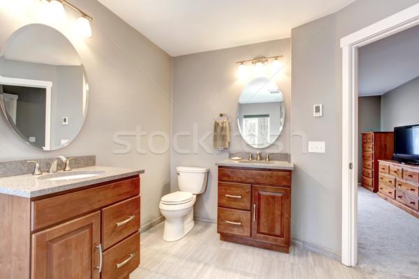 Сток-фото: красивой · серый · новых · современных · ванную · интерьер