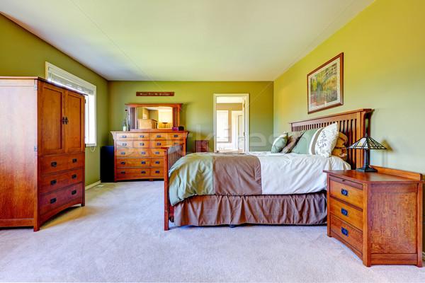 Maestro camera da letto interni luminoso verde colore Foto d'archivio © iriana88w
