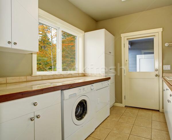 Pranie pokój Płytka umywalka pralka budynku Zdjęcia stock © iriana88w