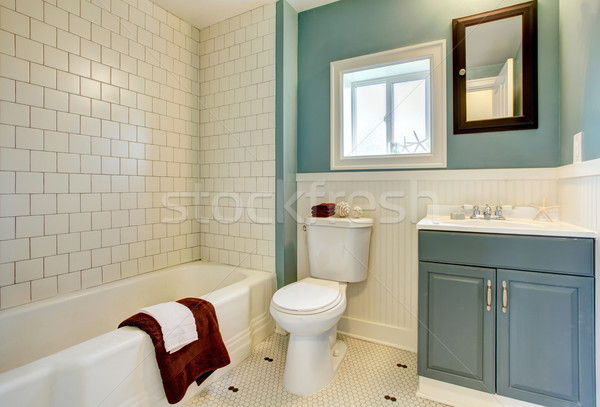 New remodeled blue bathroom with classic white tile. Stock photo © iriana88w