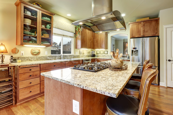 perfect kitchen with hardwood floor and island. Stock photo © iriana88w