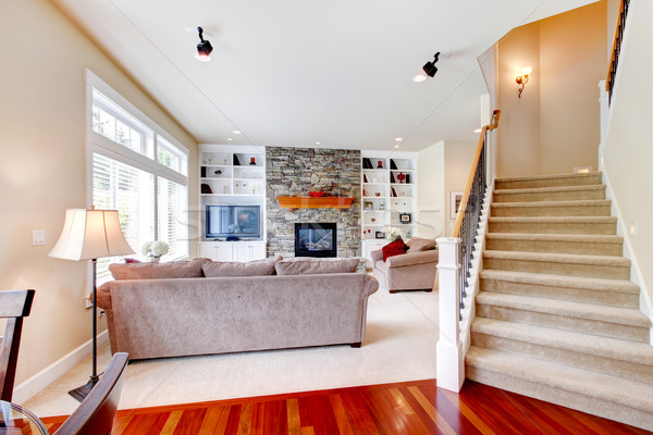 Stockfoto: Luxe · groot · beige · woonkamer · trappenhuis · steen