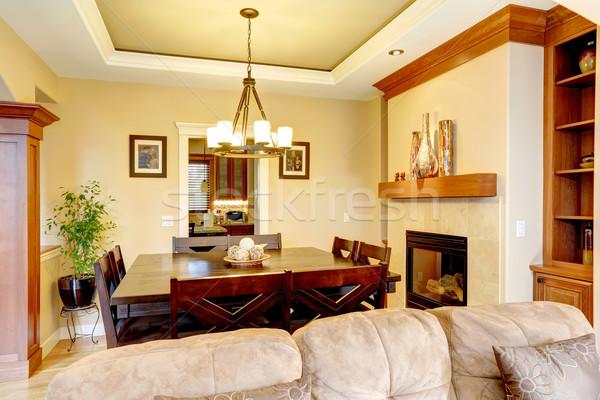 Luxury dining room with fireplace Stock photo © iriana88w