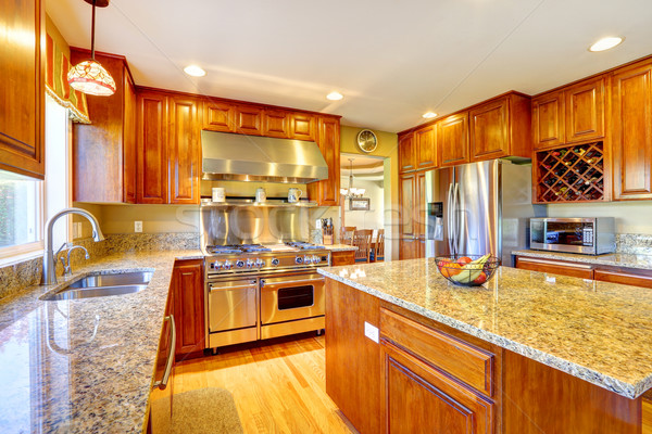 Shiny luxury kitchen room with island Stock photo © iriana88w