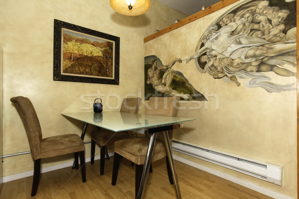 Dining corner with painted wall Stock photo © iriana88w