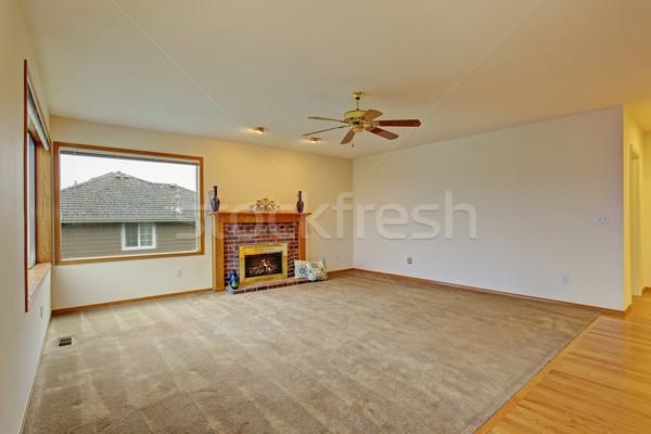 Bútorozatlan nappali szőnyeg kényelmes kandalló család Stock fotó © iriana88w