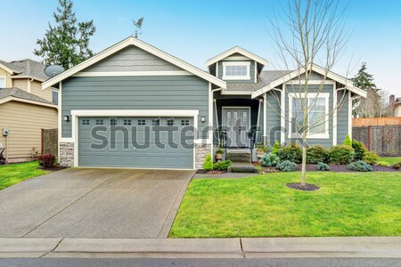 Beautiful modern home with grass and driveway. Stock photo © iriana88w