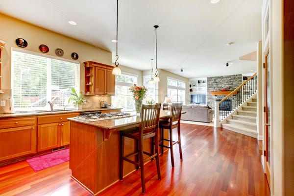 Сток-фото: древесины · роскошь · большой · кухне · гостиной · красный