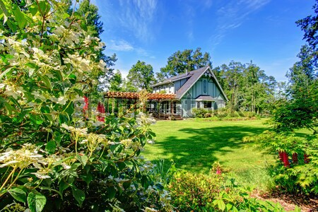 Cozy log cabin style house exterio Stock photo © iriana88w