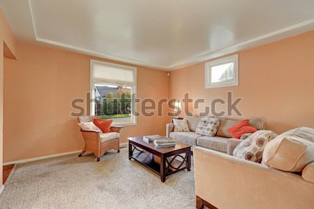TV play living room with large brown sofa. Stock photo © iriana88w
