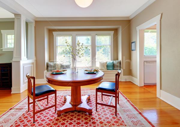 Belo decoração sala de jantar bege azul vermelho Foto stock © iriana88w
