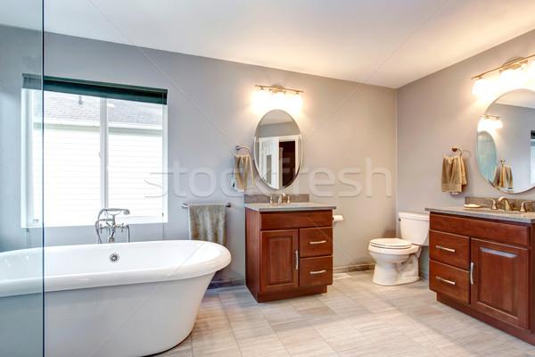 Beautiful grey new luxury modern bathroom interior. Stock photo © iriana88w