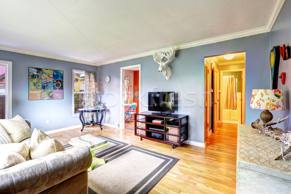 Living room interior with elk head on the wall Stock photo © iriana88w