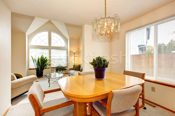 Heldere dining esdoorn tabel luxe huis Stockfoto © iriana88w
