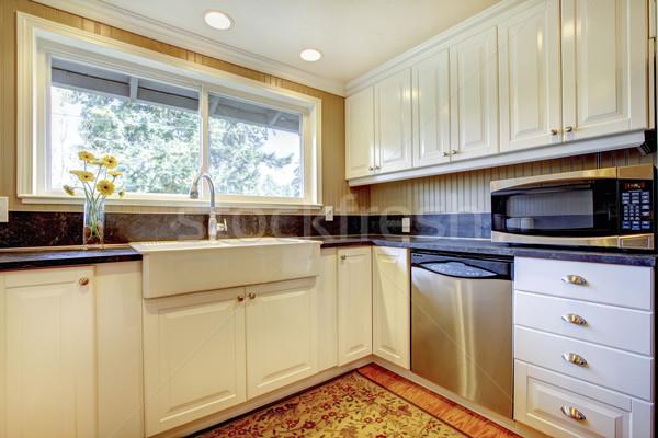 Witte keuken interieur groot wastafel venster huis Stockfoto © iriana88w