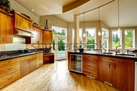 White kitchen room with black appliances Stock photo © iriana88w