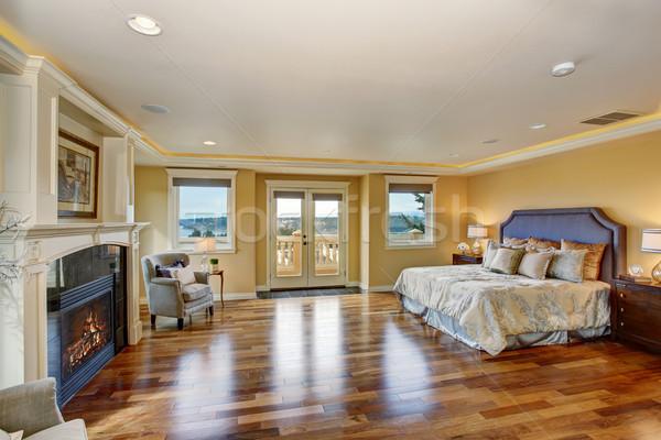 Groot elegante meester slaapkamer haard zilver Stockfoto © iriana88w
